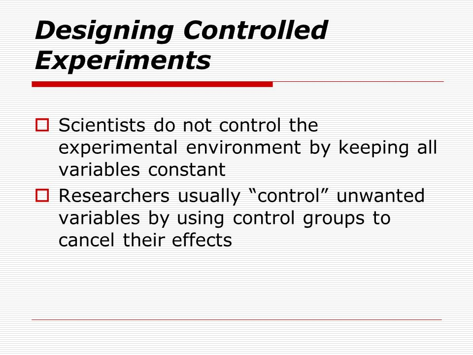 Designing Controlled Experiments