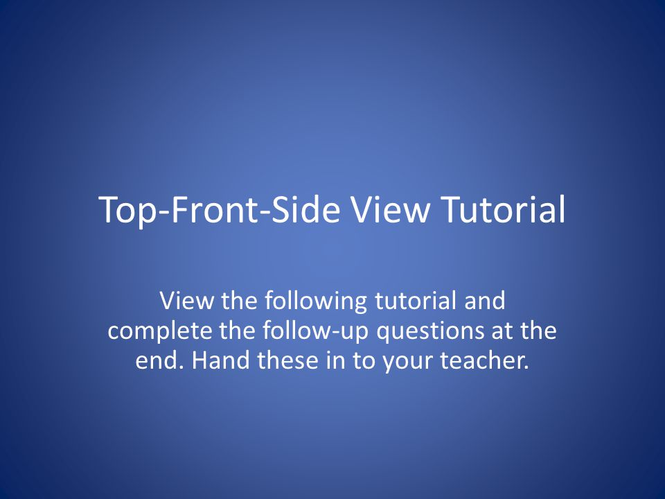 Top-Front-Side View Tutorial