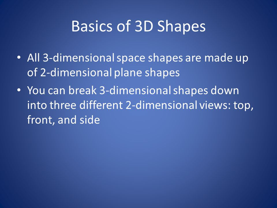 Basics of 3D Shapes All 3-dimensional space shapes are made up of 2-dimensional plane shapes.
