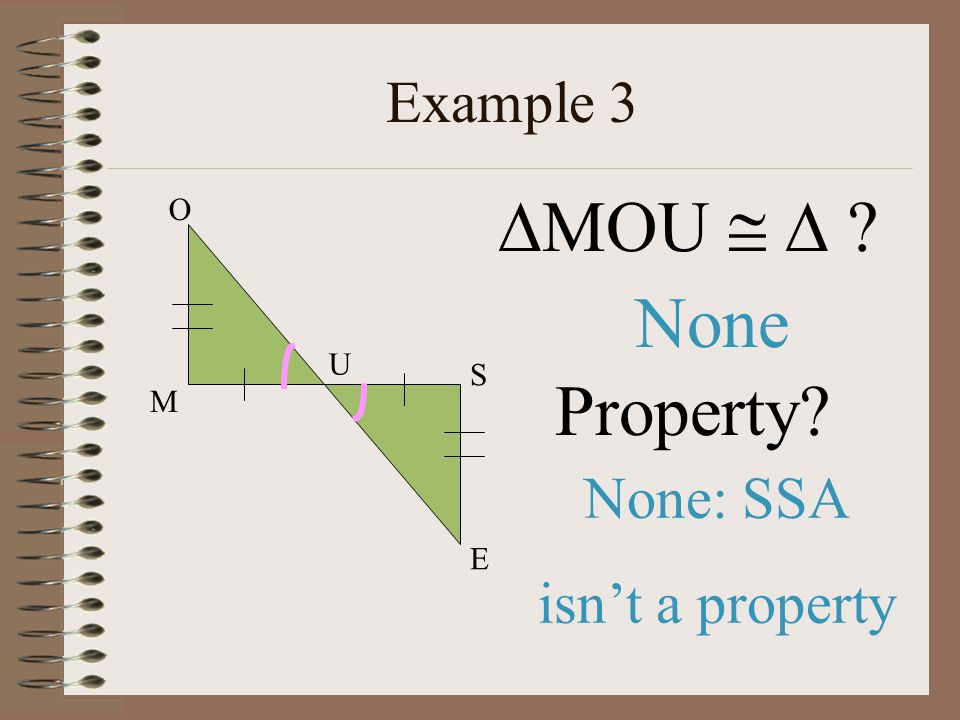 MOU   None Property Example 3 None: SSA isn't a property O U S M