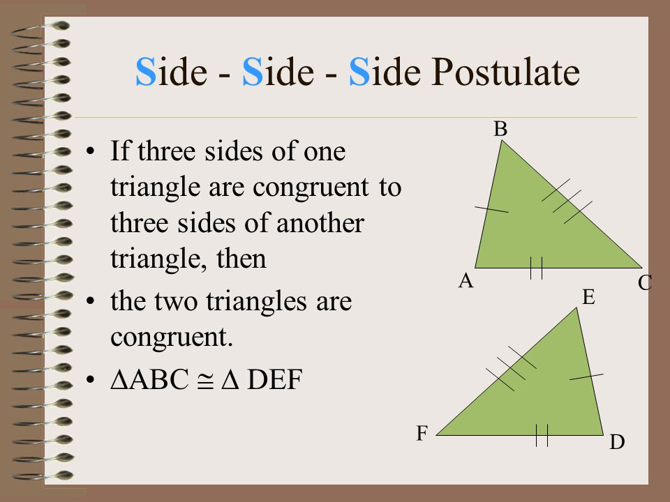 Side - Side - Side Postulate