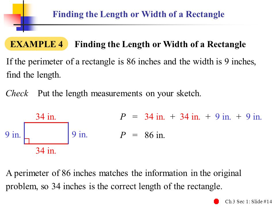 Finding the Length or Width of a Rectangle