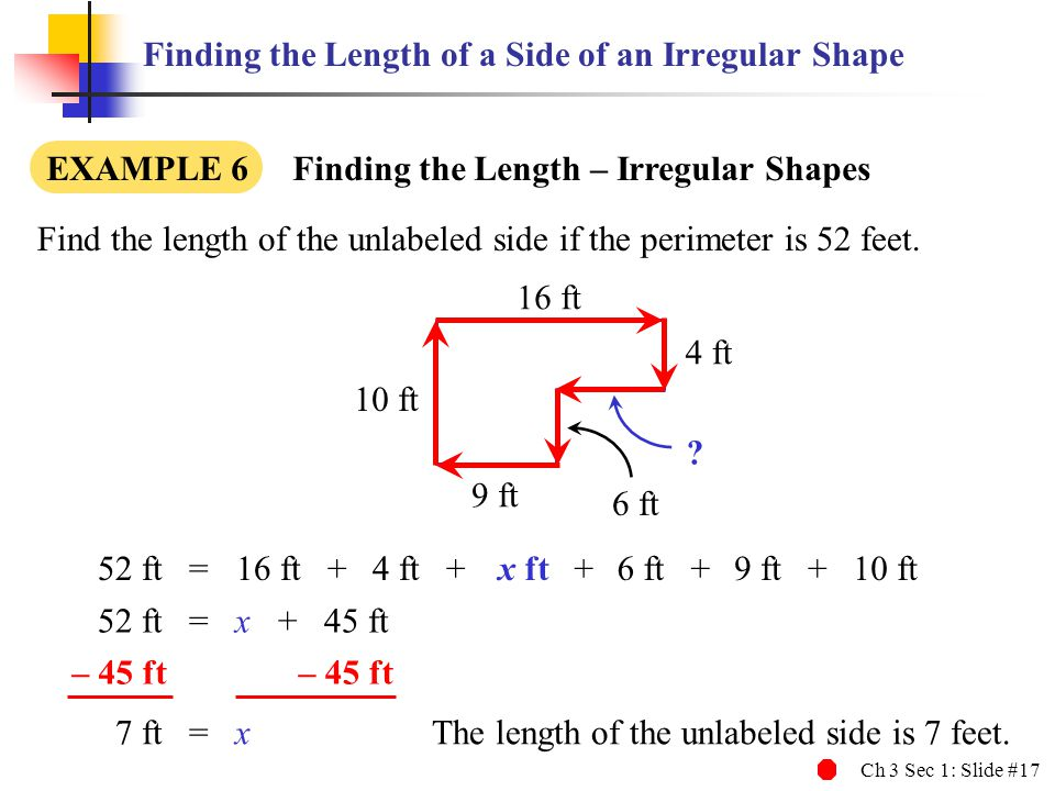 Finding the Length of a Side of an Irregular Shape