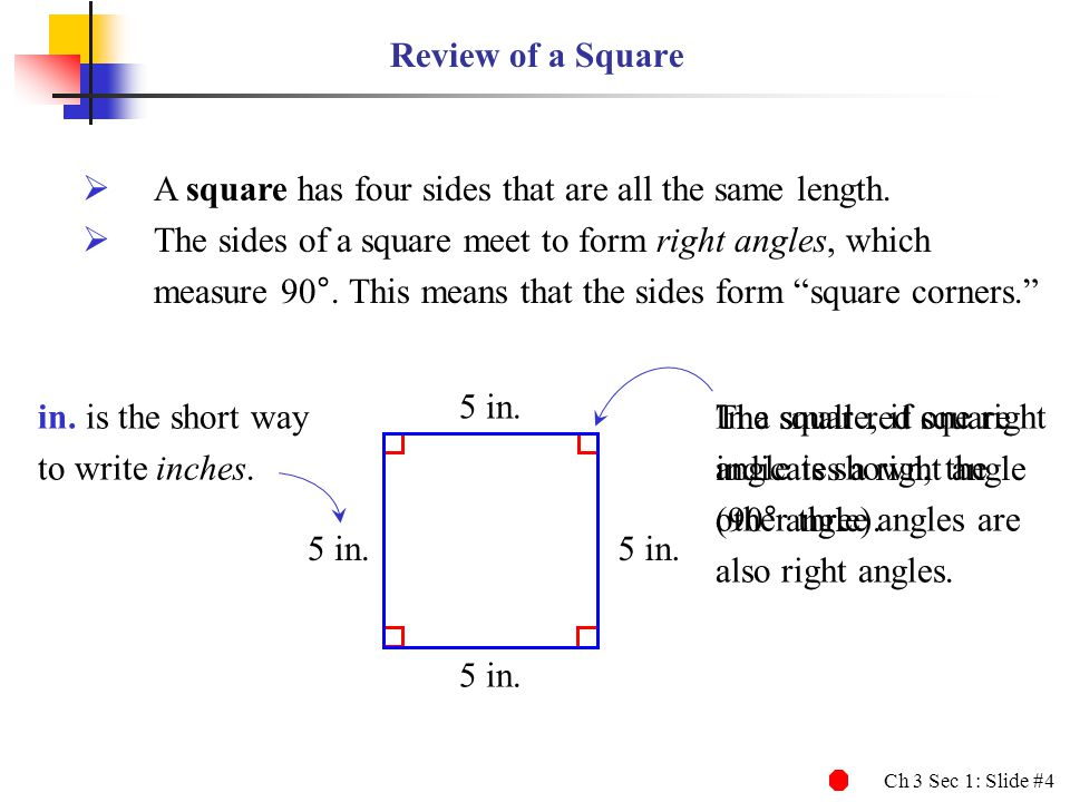 Review of a Square A square has four sides that are all the same length. The sides of a square meet to form right angles, which.