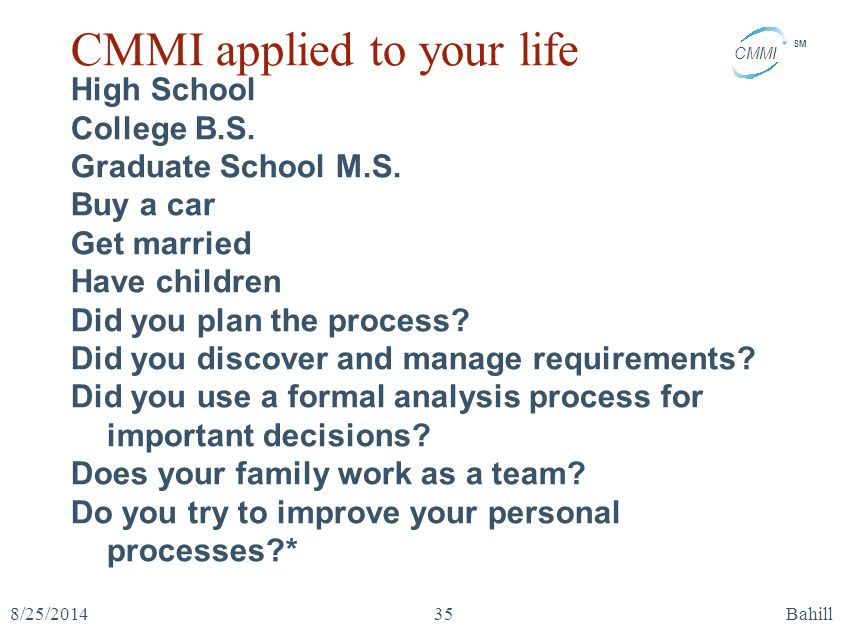 CMMI applied to your life
