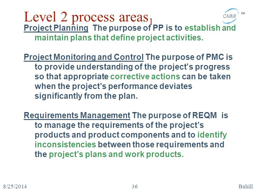 Level 2 process areas1 Project Planning The purpose of PP is to establish and maintain plans that define project activities.