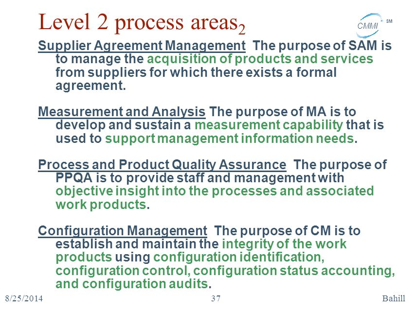 Level 2 process areas2