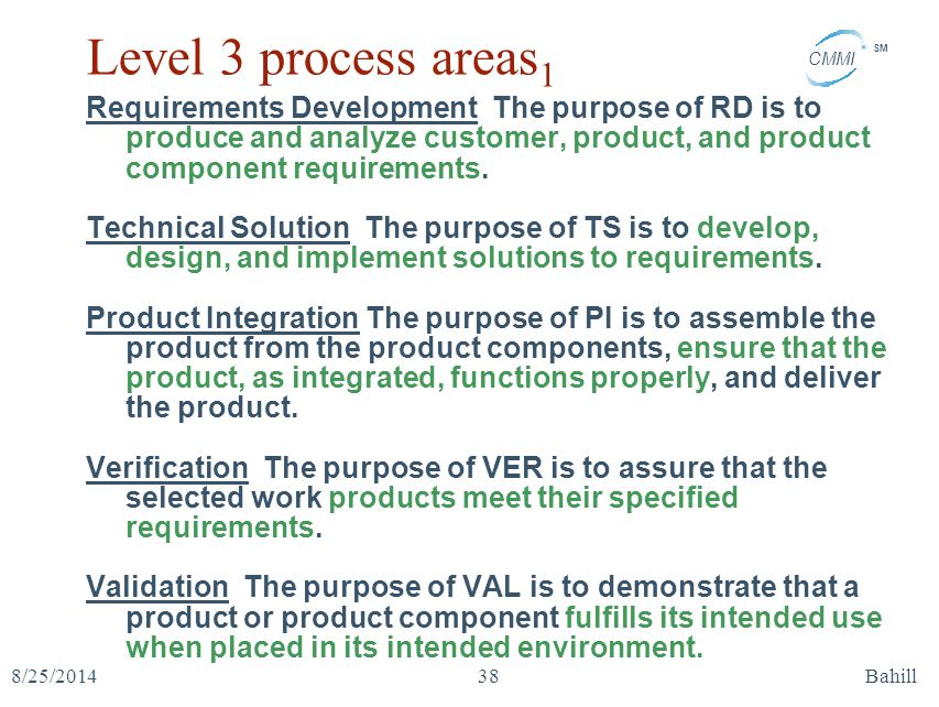 Level 3 process areas1 Requirements Development The purpose of RD is to produce and analyze customer, product, and product component requirements.