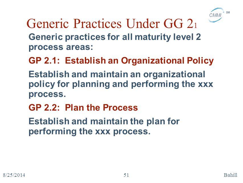 Generic Practices Under GG 21