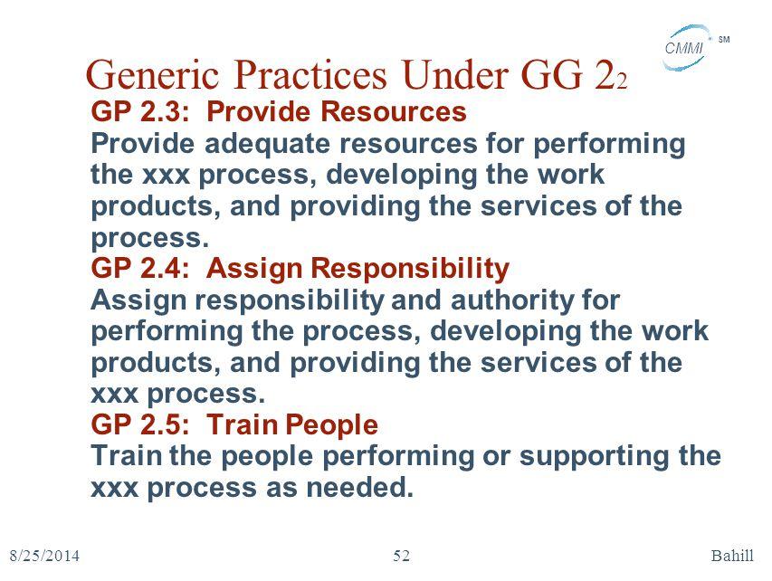 Generic Practices Under GG 22