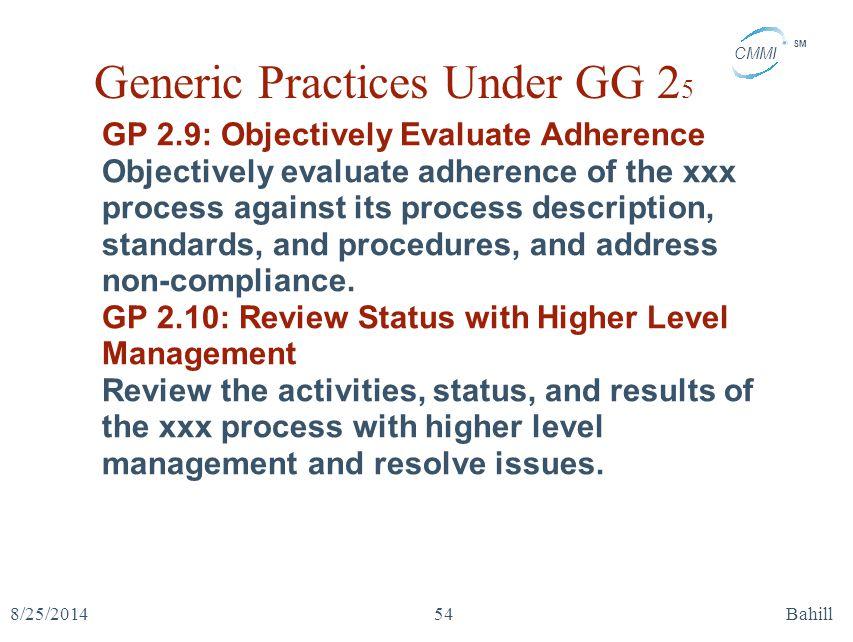 Generic Practices Under GG 25