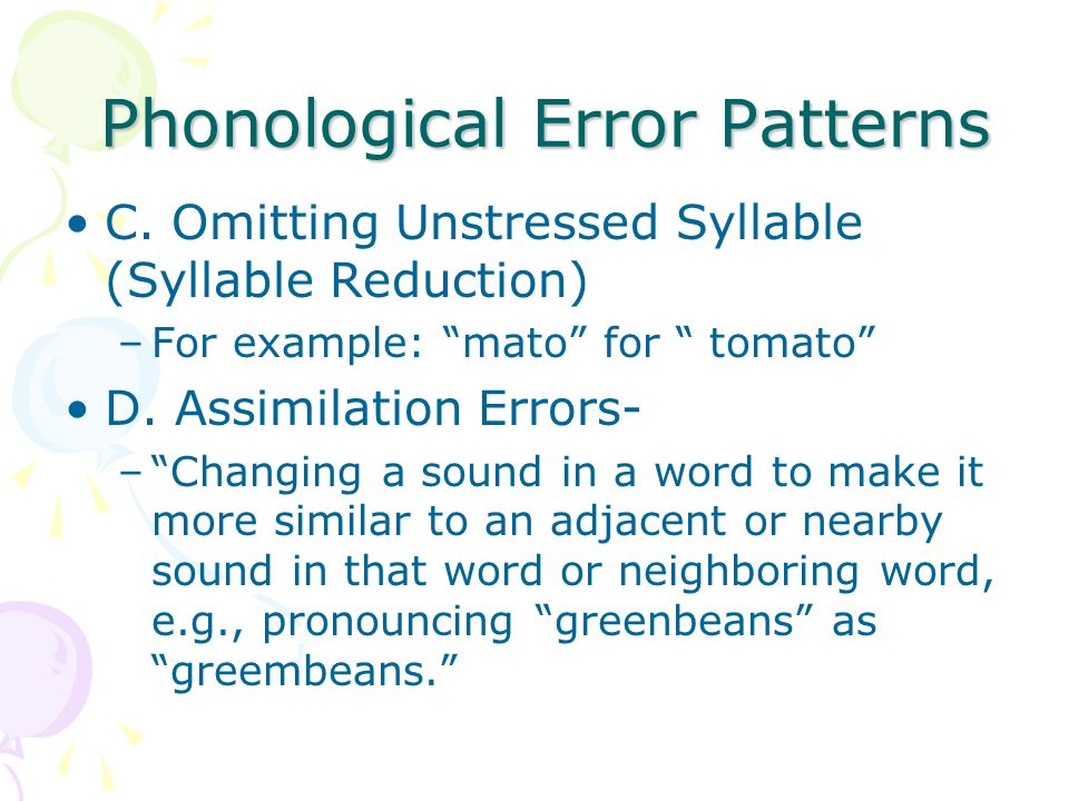 Phonological Error Patterns