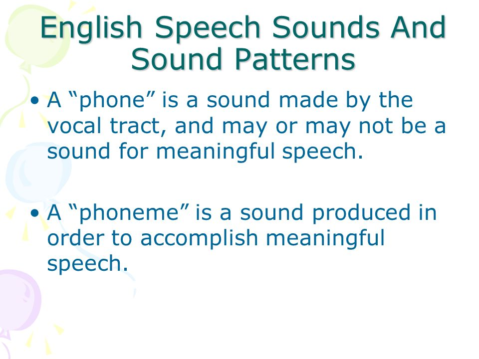 English Speech Sounds And Sound Patterns