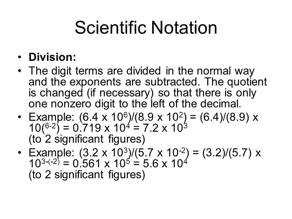 Scientific Notation Division: