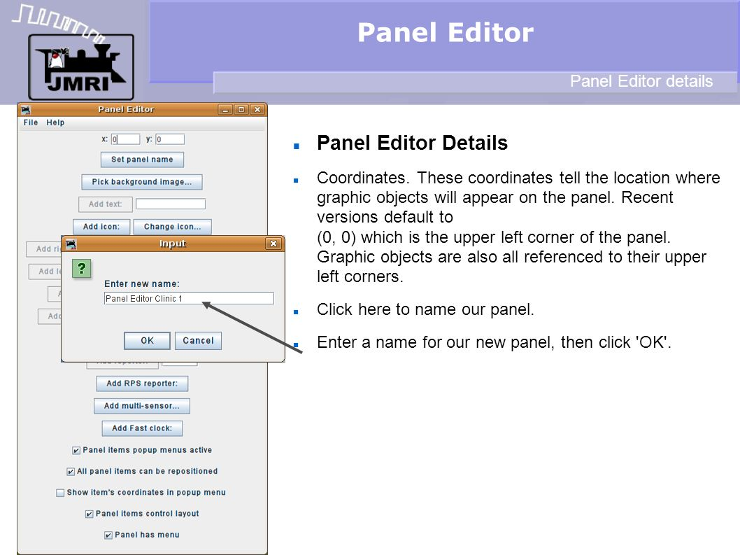 Panel Editor Panel Editor Details Panel Editor details