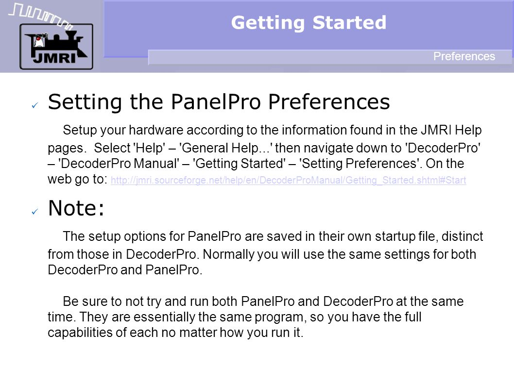 Getting Started Preferences.