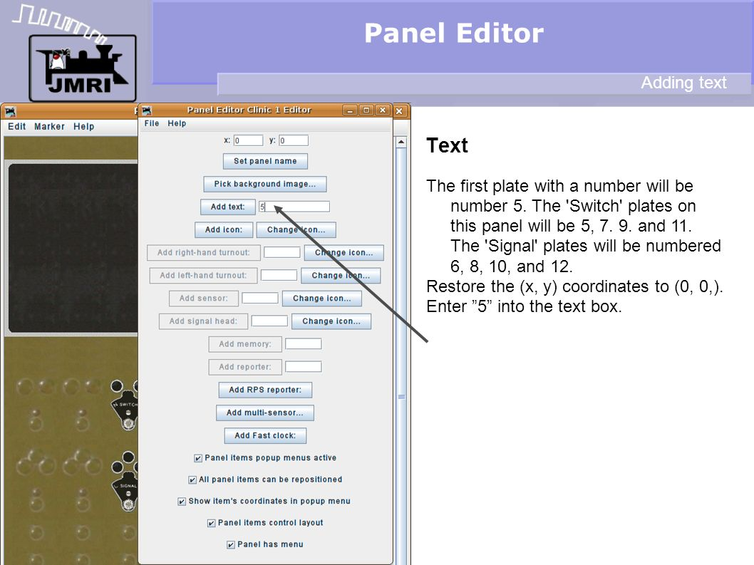 Panel Editor Text Adding text