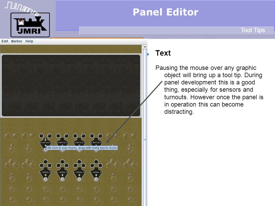 Panel Editor Text Tool Tips