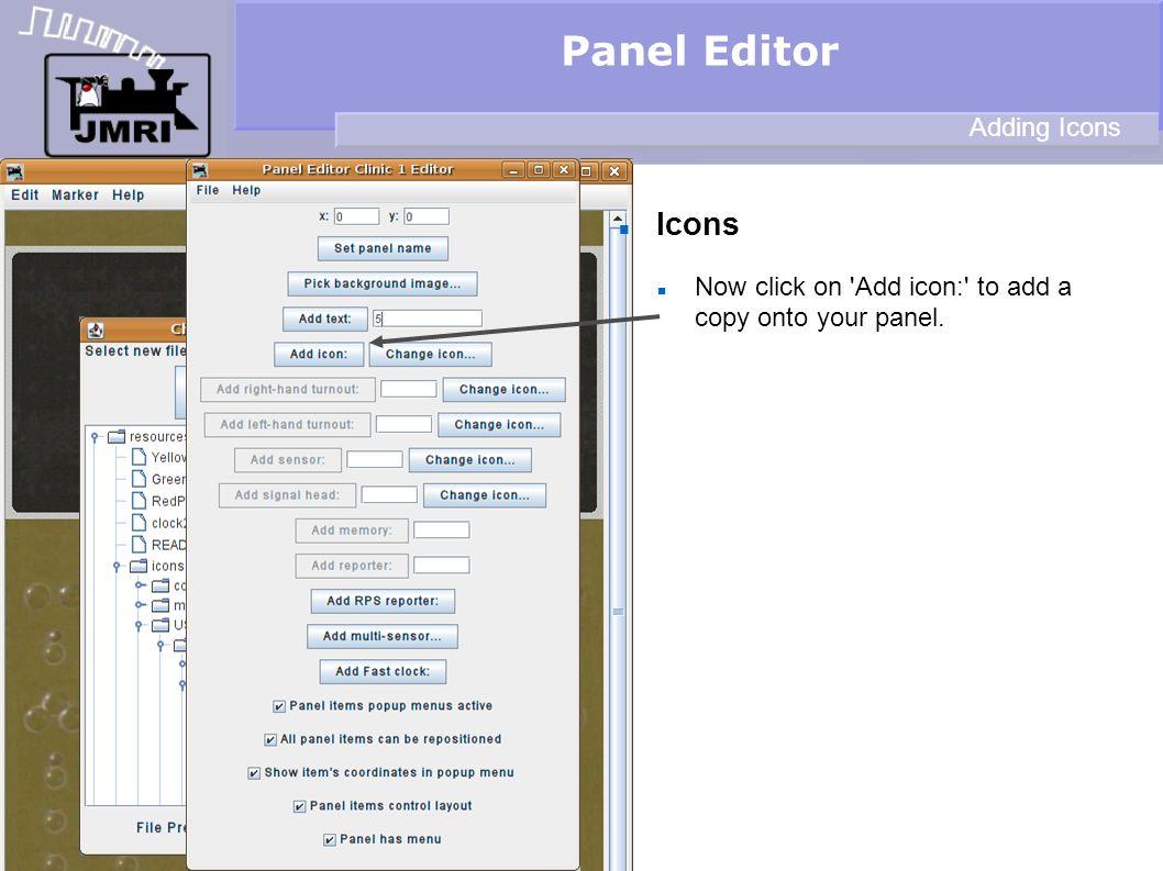 Panel Editor Icons Adding Icons