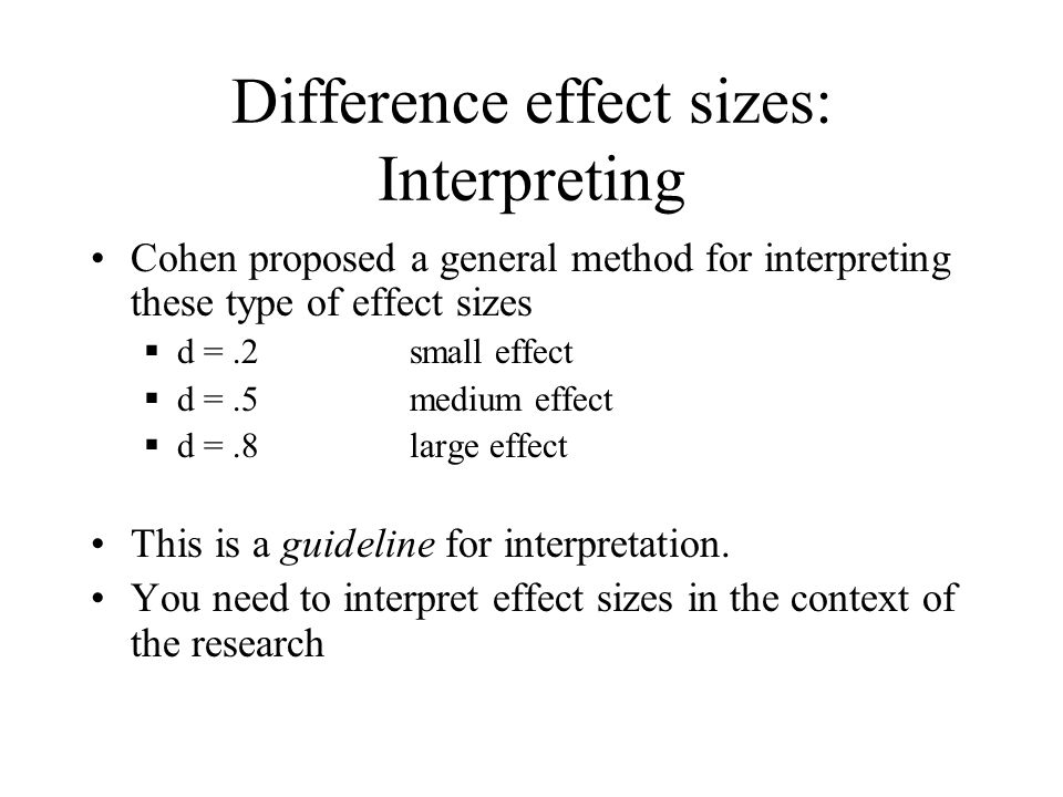 Difference effect sizes: Interpreting