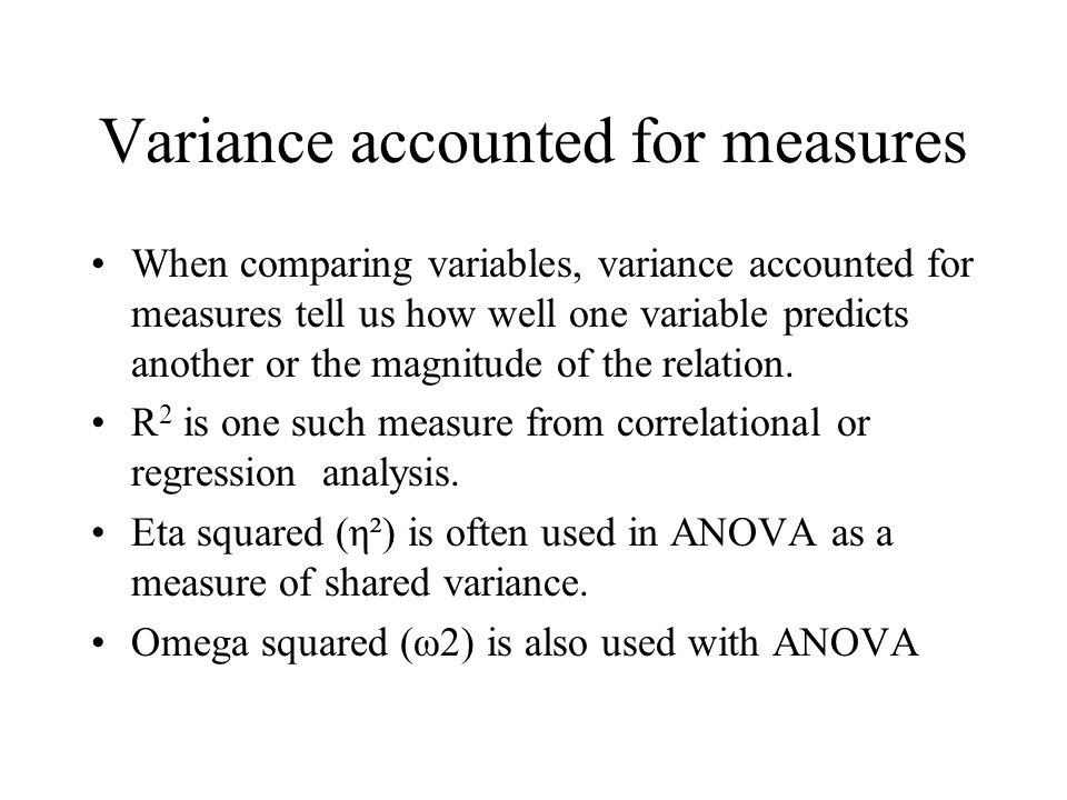 Variance accounted for measures