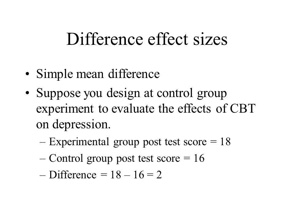 Difference effect sizes