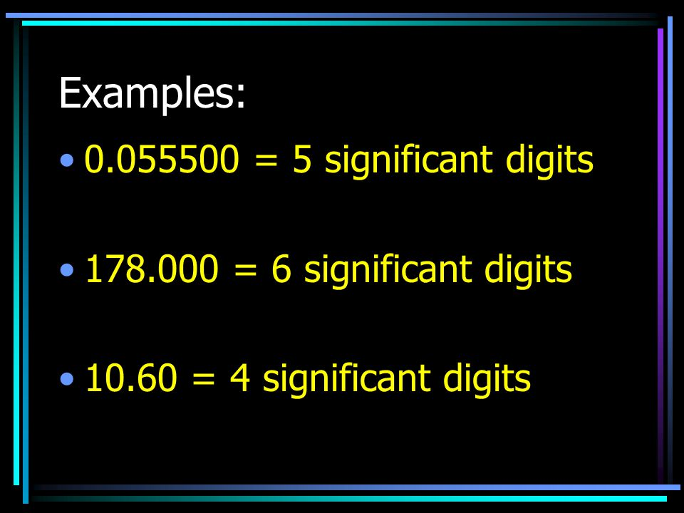 Examples: 0.055500 = 5 significant digits