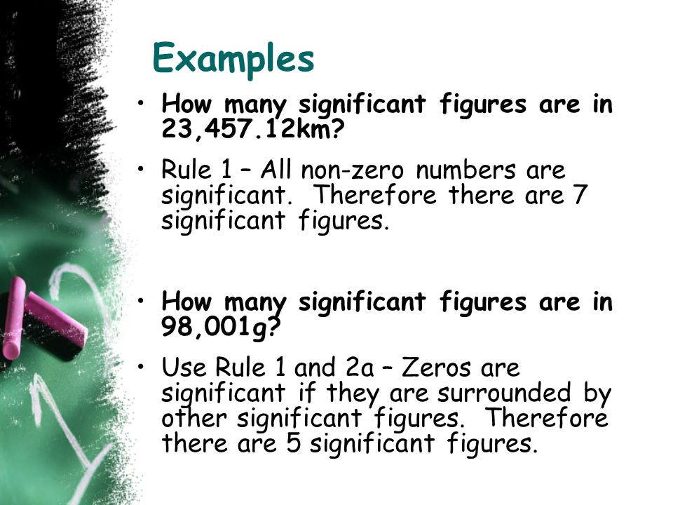 Examples How many significant figures are in 23,457.12km