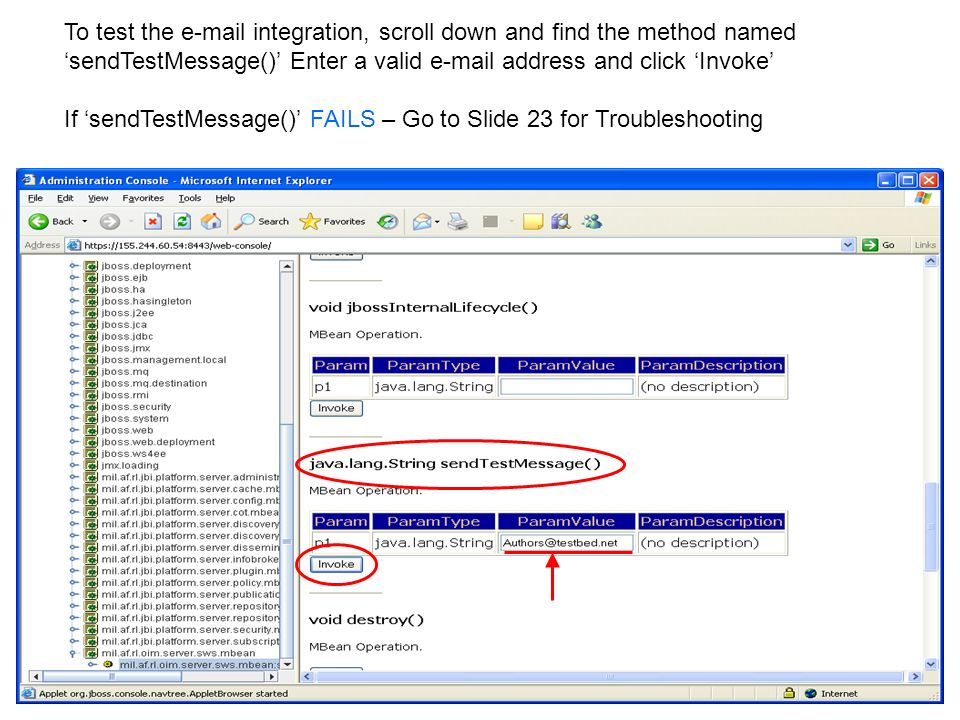 To test the e-mail integration, scroll down and find the method named