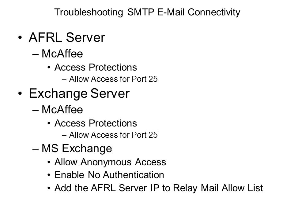 Troubleshooting SMTP E-Mail Connectivity