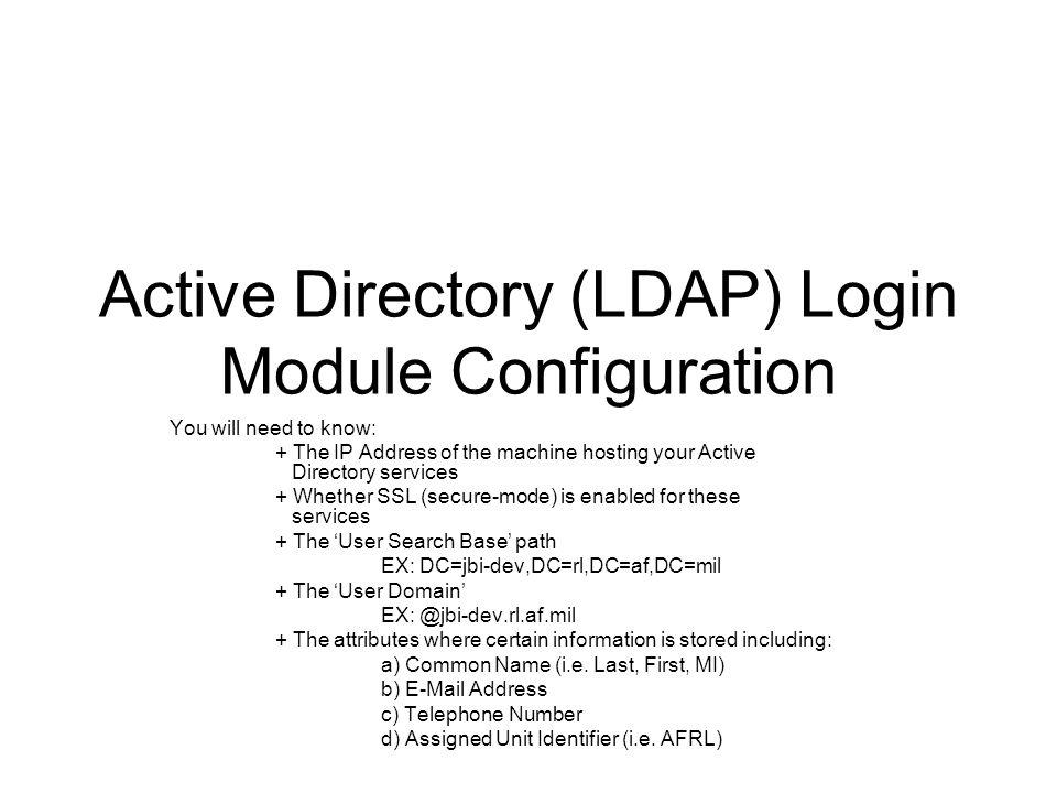 Active Directory (LDAP) Login Module Configuration