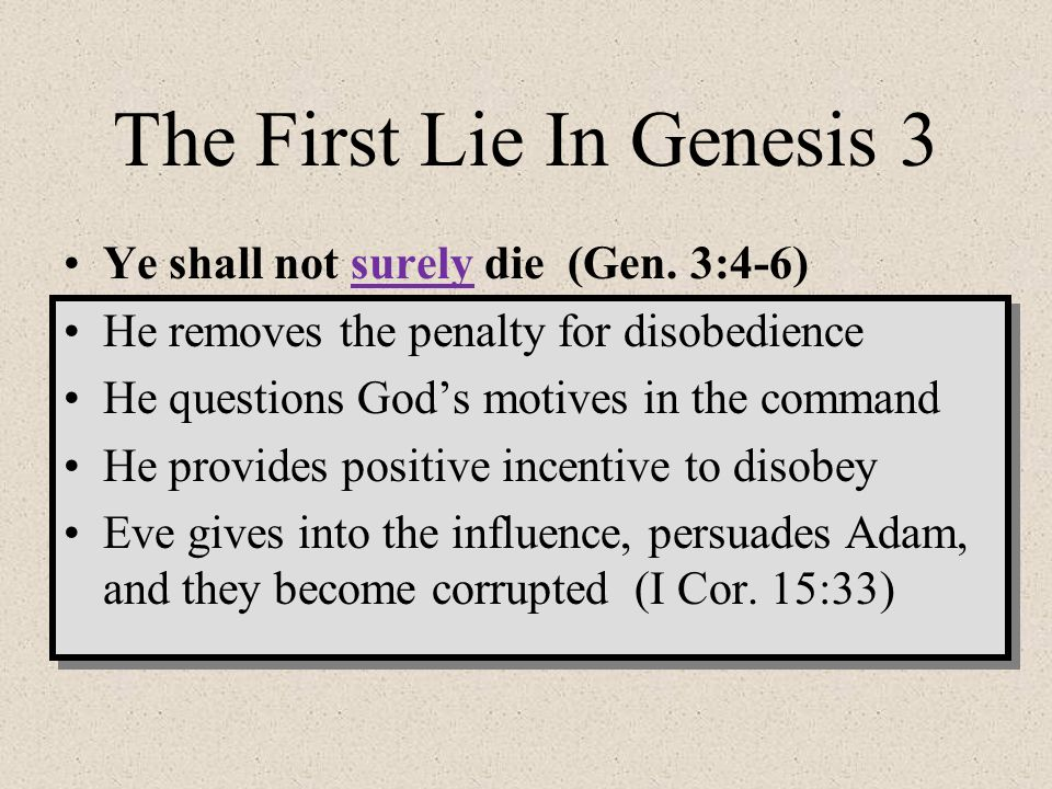 The First Lie In Genesis 3
