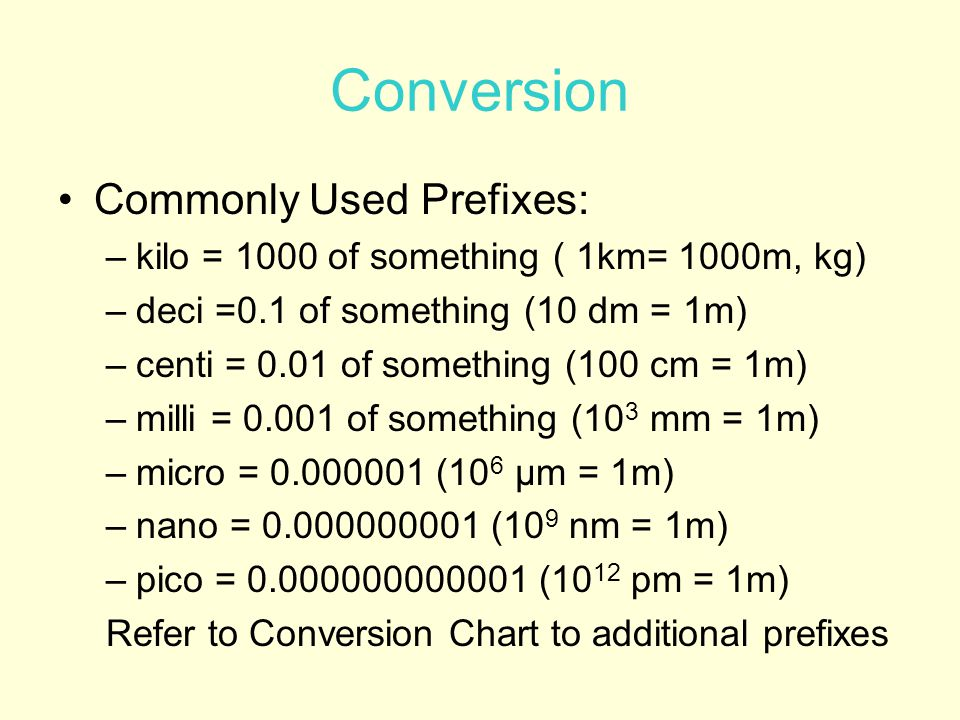 Conversion Commonly Used Prefixes: