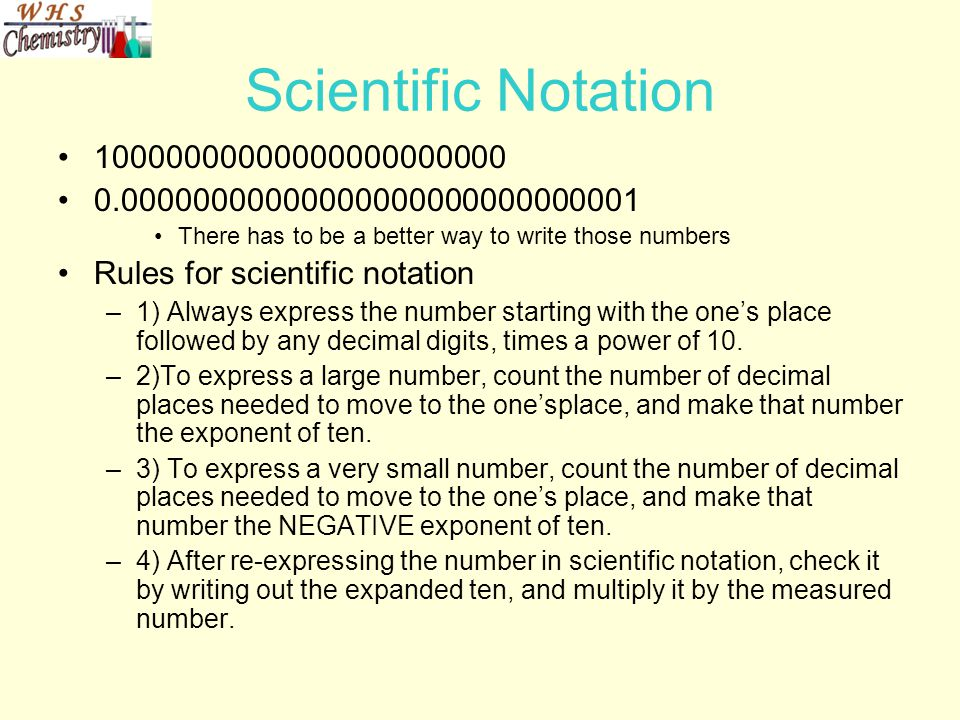 Scientific Notation 10000000000000000000000. 0.00000000000000000000000000001. There has to be a better way to write those numbers.
