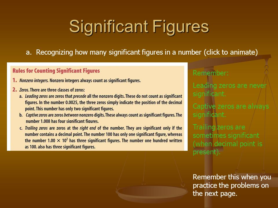 Significant Figures a. Recognizing how many significant figures in a number (click to animate) Remember: