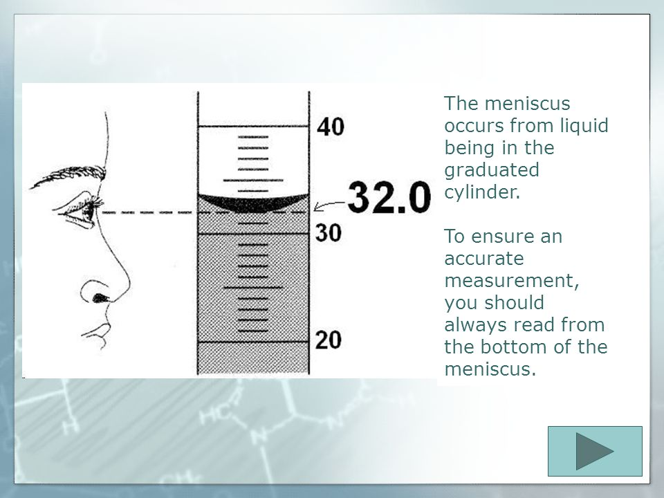 The meniscus occurs from liquid being in the graduated cylinder.