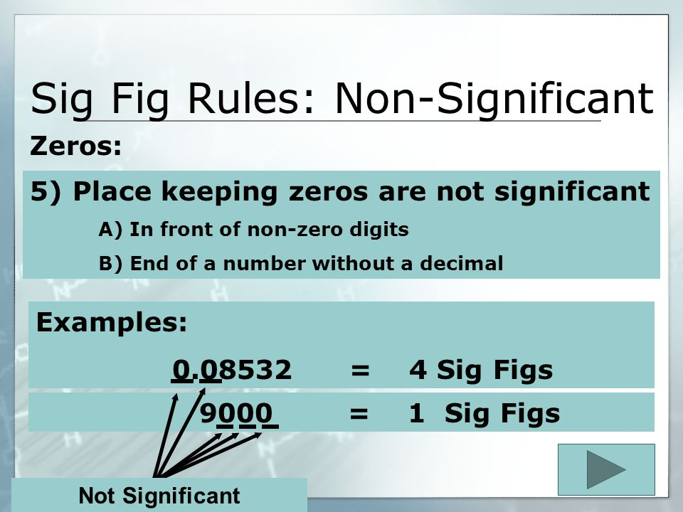 Sig Fig Rules: Non-Significant