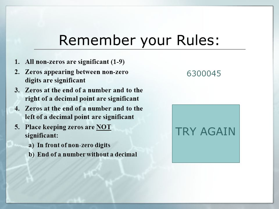 Remember your Rules: TRY AGAIN 6300045