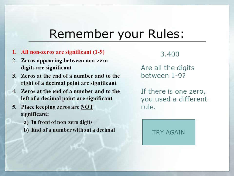Remember your Rules: 3.400 Are all the digits between 1-9