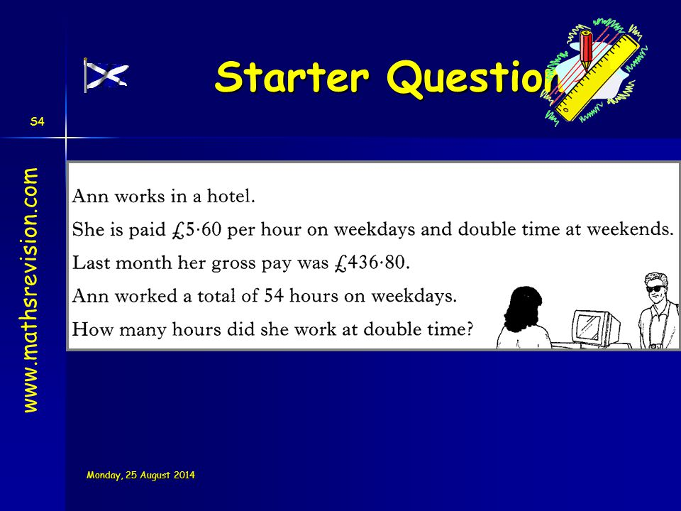 Starter Questions www.mathsrevision.com Wednesday, 05 April 2017