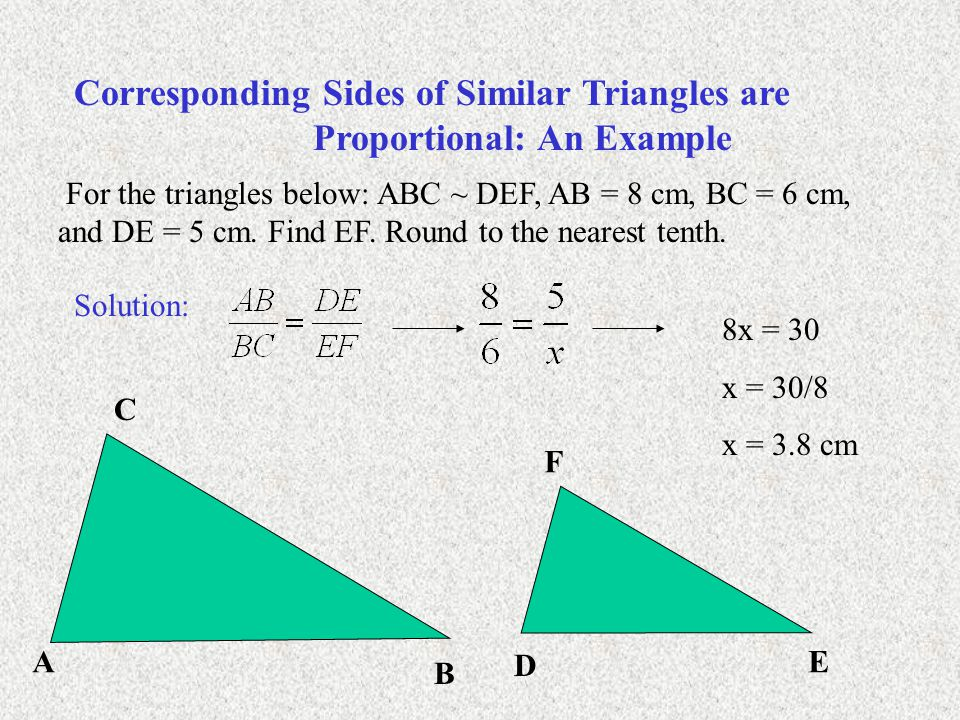 Corresponding Sides of Similar Triangles are Proportional: An Example