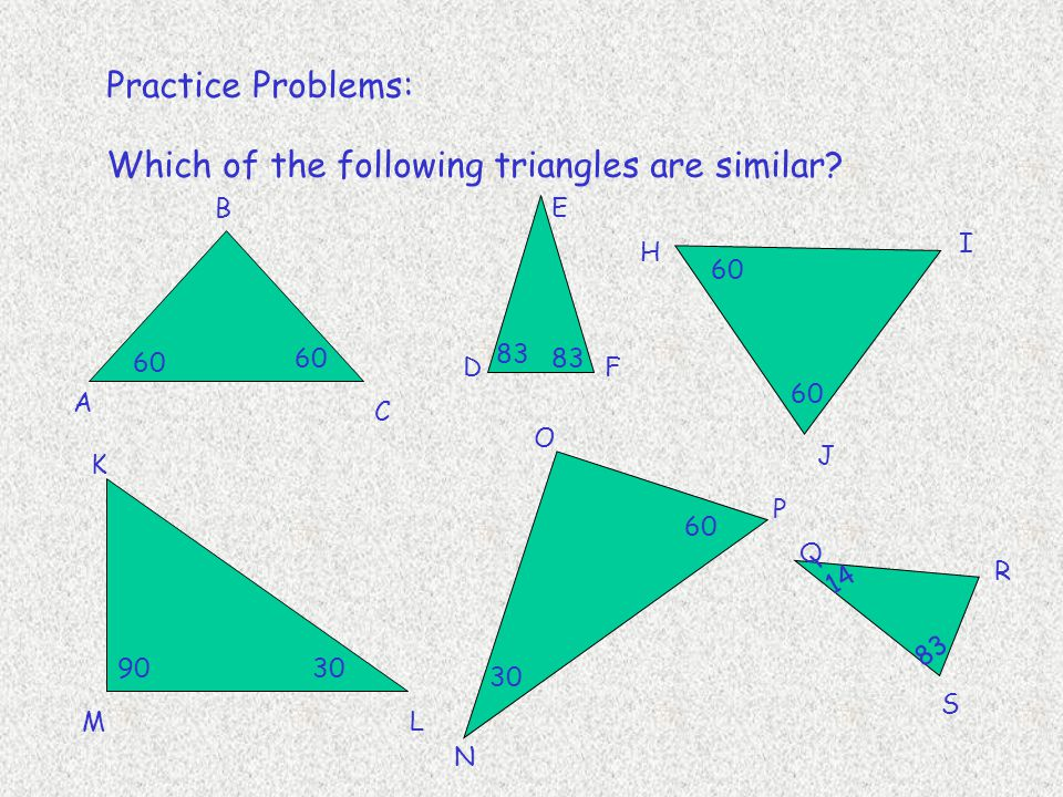 Which of the following triangles are similar