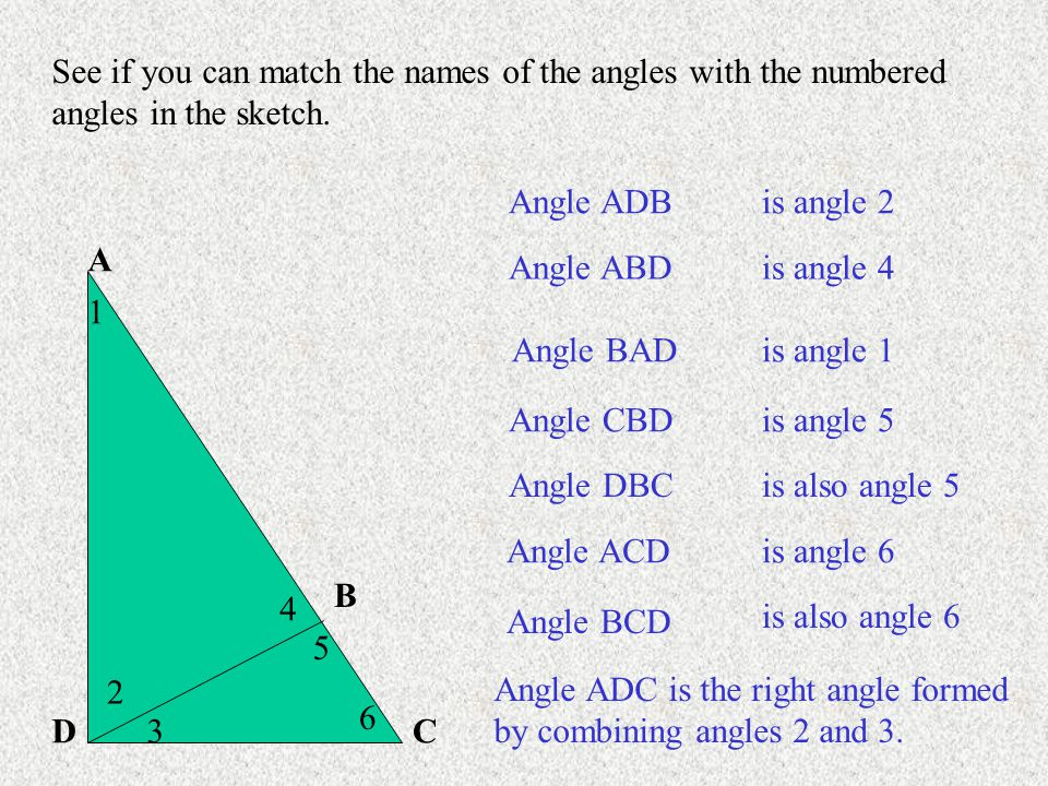 See if you can match the names of the angles with the numbered angles in the sketch.
