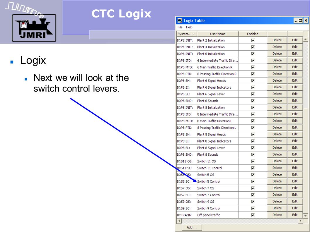 CTC Logix Logix Next we will look at the switch control levers.