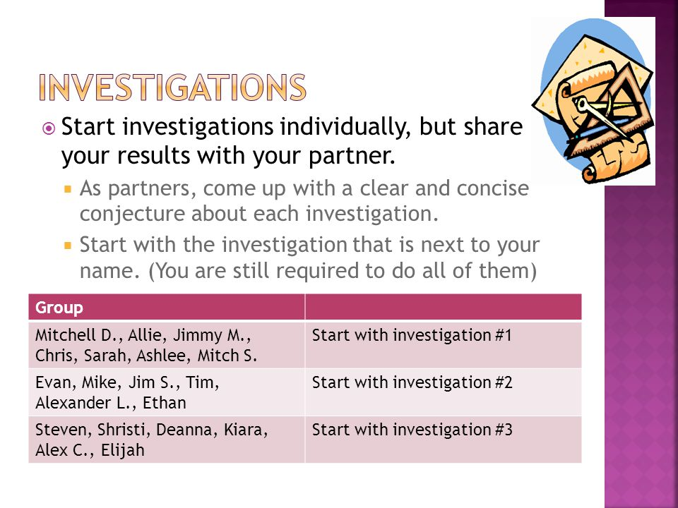 Investigations Start investigations individually, but share your results with your partner.