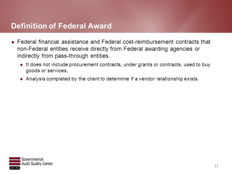 Examples of Federal Assistance