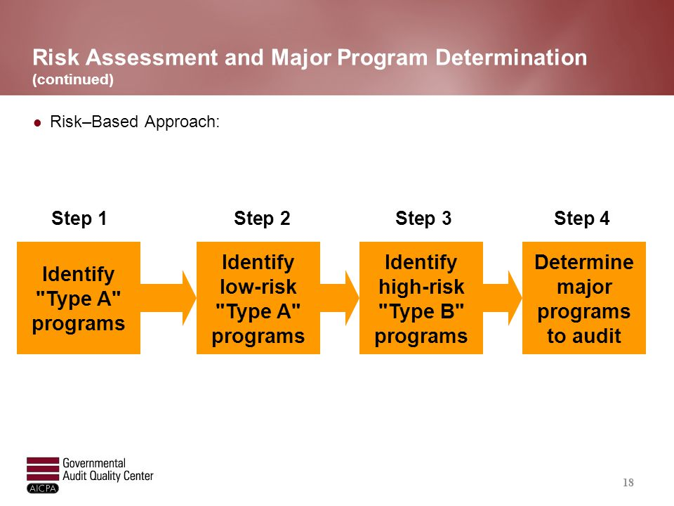 Risk Assessment and Major Program Determination Step 1 – Identify Type A Programs