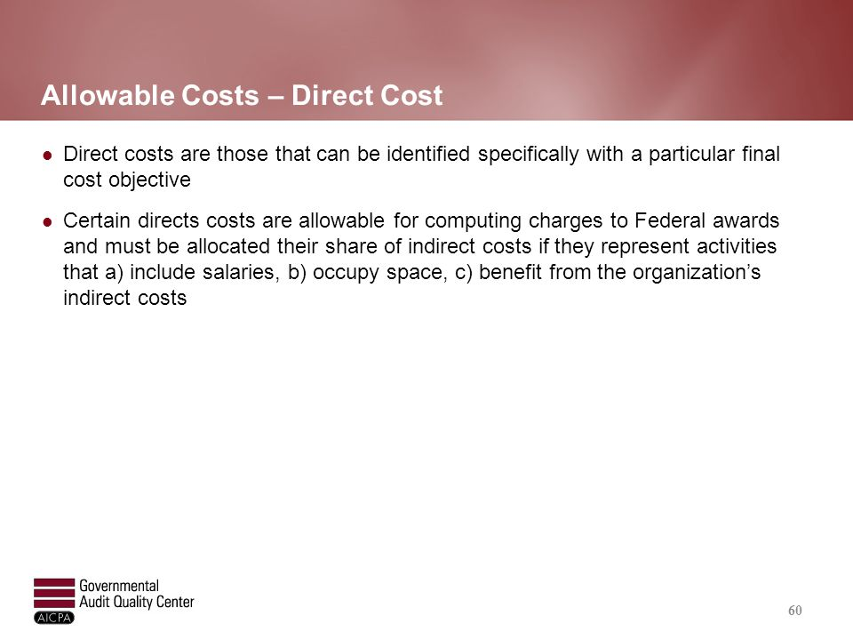 Sample Items of Cost Selected Cost Item Under OMB Circular A-122