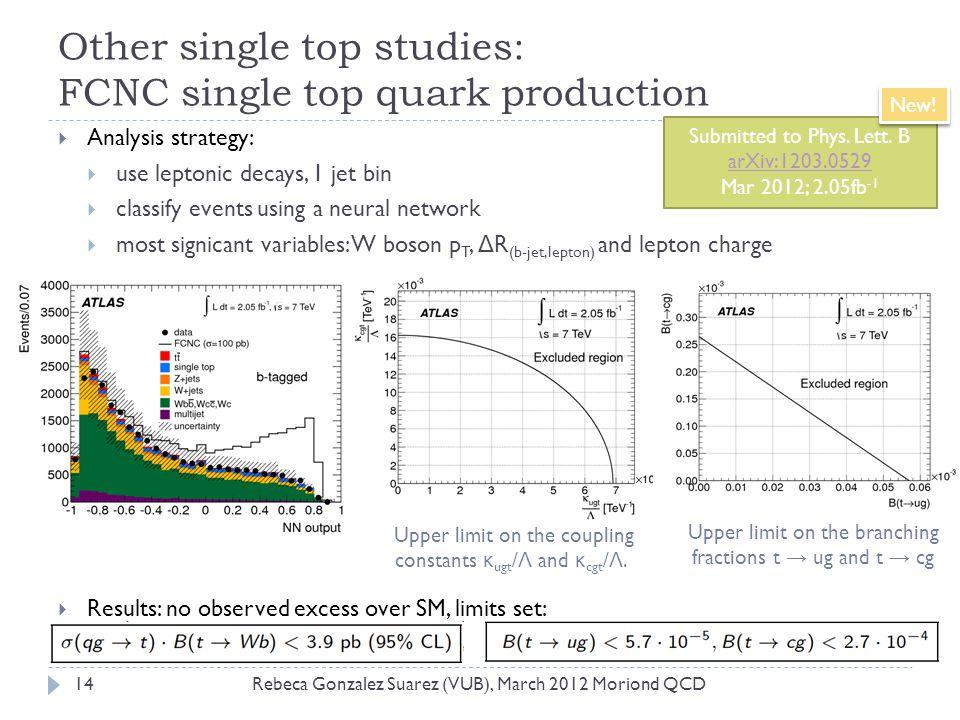 Other single top studies: FCNC single top quark production