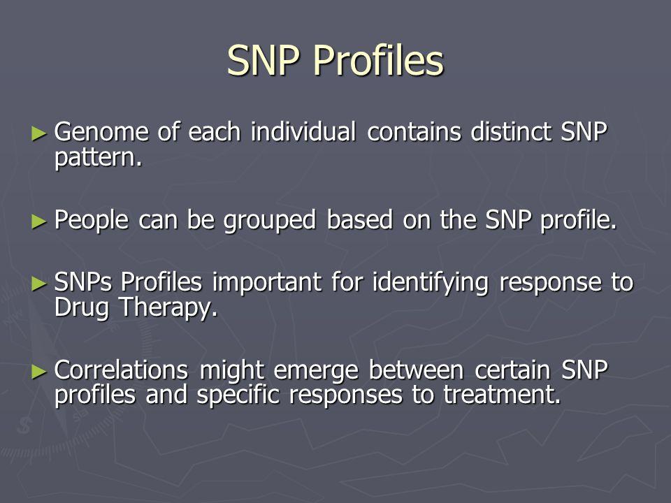 SNP Profiles Genome of each individual contains distinct SNP pattern.